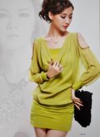 9612 New arrival Spring 2013 fashion new Beaded quality 2pcs strap dress Chiffon Lantern Sleeve dress sexy club wear