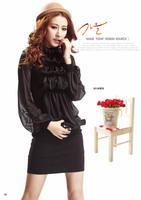 2013 new spring collar slim sweet thin Lantern Sleeve Chiffon Long sleeve bag hip dress 3012