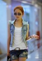 New Autumn Korean Personality Denim jeans the women 's vest