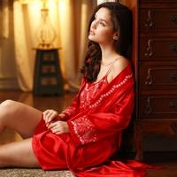 LZ nightwear summer spring women's sexy faux silk nightgown robe sets kimono cardigan dress sleepwear twinset clothing red L XL