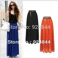 2014 Women Amazing Sexy Chiffon Long Skirt 2013 New Fashion Hot Sales Bohemian Princess pleated Skirt High Quality