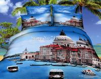 100% cotton oil painting bedding set 3D water city Venice blue bed linen 4pcs full/queen bed in bag quilt/duvet covers