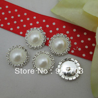 (CM529 17mm) Free shipping! Wholesale 100 Rhinestone Crystal White Pearl Shank Round Buttons Sewing Craft