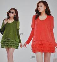 1268  Free shipping gorgeous 2013 spring new Fashion ruffle stunning chiffon ruffle Long sleeve mini dress women dresses