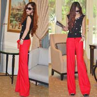 Free Shipping Women Summer Linen pants ,wide leg fashion fluid casual pants Orange/black/green/Blue/red