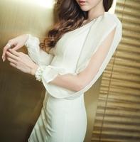 1105 long-sleeve one-piece dress slim elegant formal dress short design slim hip short women's
