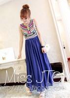 2014 bohemia pleated sleeveless chiffon patchwork one-piece dress