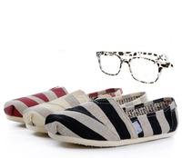 Fashion Casual Canvas Shoes Unisex  Zebra Stripe Classic Canvas  Espadrilles Flats Shoes Plain  Sneakers Eur35-45 Free Shipping