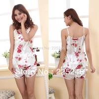 Casual 2PCS Sleepwear Womens Fashion Shirts+Shorts Pants Flowers Rose Pajama Set  JX0178 Free shipping&DropShipping