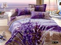 cotton oil painting bedding set 3D purple flower beside river bed linen 4pcs full/queen bed in bag quilt/duvet covers