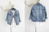 B Plus Size Fashion Jean Denim Jacket Women Outwear Long Sleeve Short Coat Size-S/M/L/XL/XXL/XXXL  Free shipping