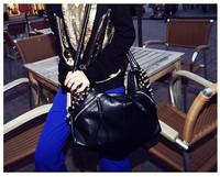 Free shipping new handbags, European and American retro wave packet, rivets bag, shoulder bag, handbag, pu bag