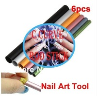 Free Shipping  6pcs/set 6 sizes C Curve Metal Rod Stick for DIY French Nail UV Gel Acrylic Tips Nail Art NA379