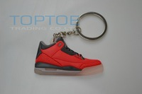 2013 Hot selling  Sneaker keychain Basketball Shoes AJ3 red color 5pcs/lot