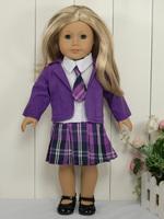 "4PCs 18"" Outfits Doll Clothes School Uniform fits 18'' Doll 4001a"