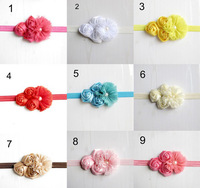 Free Shipping 10 pcs/ lot Elastic Headbands with pearl flower children hair accessory baby girl rose flower hairbands headwear