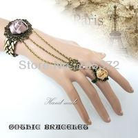 Fashion Women Jewelry Ribbon Retro Bronze Bracelet Handmade Bracelets with 3 Cable Chains Womens Party Accessories 10pcs/Lot