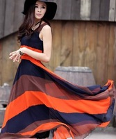 2013 New Style long bohemian chiffon Maxi Fringe Dress for women female clothe summer clothes