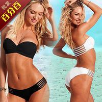 Fashion bikini swimwear female split steel big small push up t76