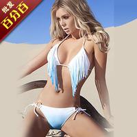 Fashion bikini swimwear female split big small push up tassel t71