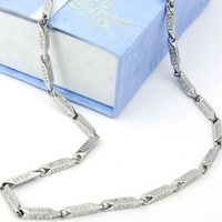 "FTC003 Fashion 316L Stainless Steel Necklace Chain For Men With ""G"" Grid Never Fade 3mm 22"""