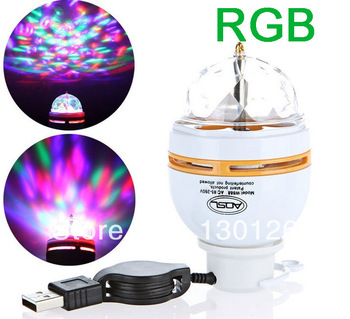 Free Shipping Full Color 3W LED Portable Disco DJ Party Crystal Stage Light Auto Rotating led Bulb Lamp with USB Interface