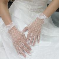 The wedding lace gloves 2012 thin bride wedding gloves married piece set gloves design short formal dress gloves
