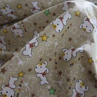 Baby cartoon cotton baby 100% diy clothes bed sheets handmade bedding fabric coffee