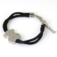 Free Shipping Newest Design Mother/Girl's Good Gift 100% Stainless Steel Fashion Jewelry Cute Silver Bear Bracelet