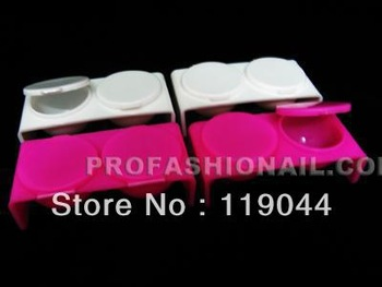 Free shipping Plastic Acrylic nail liquid Double Dappen Dishes nail art powder dishes NA015