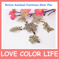 2013 Most Fashion and Classic Vintage hairpin side-knotted clip copper vintage hair accessory reminisced hairpin bronze  color