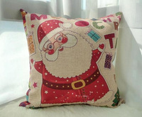 2013 free shipping 45 * 45cm beautiful big red Santa Claus gifts colorful linen cushion pillow case letters