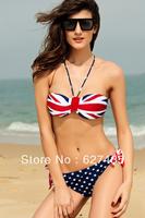 Wholesale!FREE SHIPPING!(10pieces) 100% Brand New Women's Sexy lingerie,National Flag Pattern Push-up Halter Bikini Set,,bikini