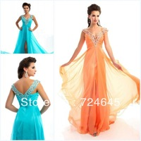 2013 Elegant Cap Sleeve V-Neck Chiffion Split Front Prom Dresses With Beading Party Prom Dresses