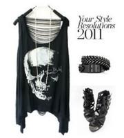 2014 New Fashion Skull Head Printed Tops Women's Skeleton Cartoon T-shirt Tassel Back Hollow Out Vest Tops Tees TX-046