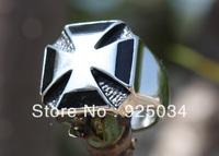 Men's Solid Stainless steel Casting Enamel  Big Cross Thumb Forefinger Jewelry Rings