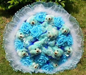 Livraison gratuite cartoon ours en peluche ours bleu bouquet roses
