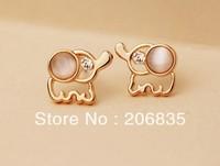 Fashion 18K Gold Plated Elephant Earrings With Rinestone&Cat Eye Stone Elephant Earring