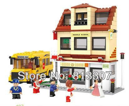 10pcs/Lot Building blocks set school bus educational plastic toy with assembles particles puzzle game(China (Mainland))