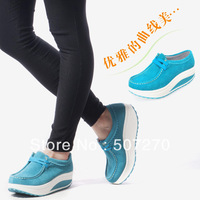 Free shipping ! 2013 Fashion Lace-Up Casual Breathable Women's Shoes Height Increasing Genuine Leather Running Sport Shoes LB015