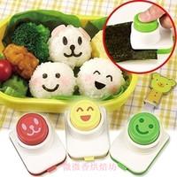 Porphyrilic smiley style bento sushi tools rice cake mould diy seaweed clip embossed device