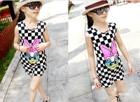 Free Shipping Girl's New Summer Cotton Dresses Kids Carton Duck Printed Dress Children's Checked dress*3 colors