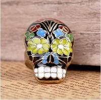 wholesale Halloween jewelry VINTAGE SUGAR SKULL RING Mexican New Gift Boxed Dia De Los Muertos Enamel Free shipping