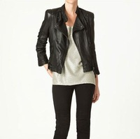 FREE SHIPPING 2013 PU Studs Leather Coat Jacket CX11