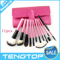 High quality! 11pcs/set Makeup brush with leather pouch.beauty tool.environmental protection Wooden handle