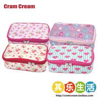 free shipping Cram cream gentlewomen suitcase-type satin square cosmetic bag travel storage bag