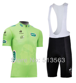 Hot sale!2014 new model Tour de France Pro Team green cycling jersey with bib shorts cycling wear bike jersey cycling clothing