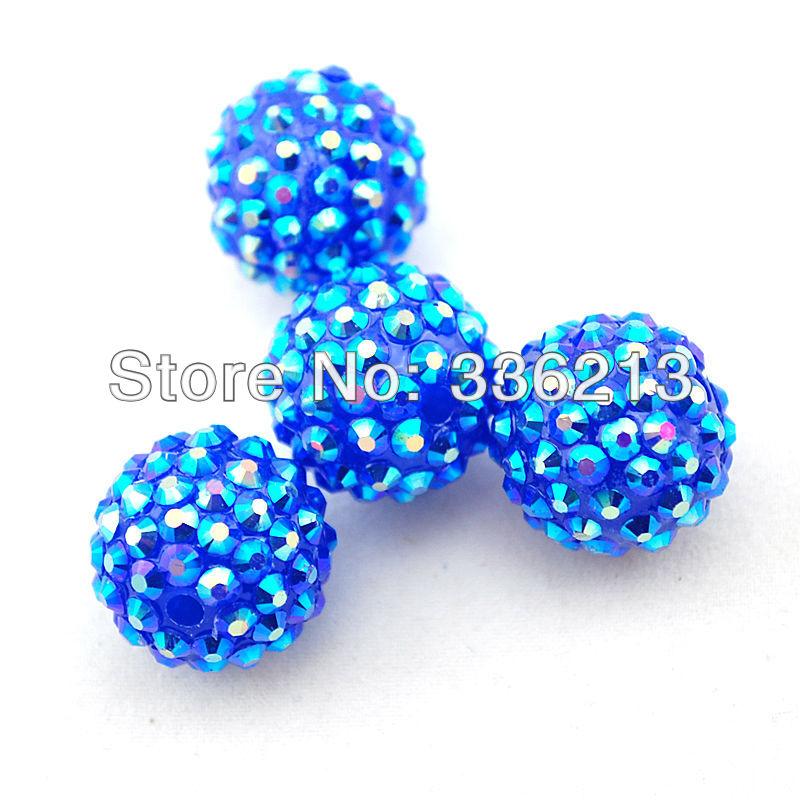 Top Quality 20 AB Royal Blue Resin Rhinestone Paved Acrylic Beads, 18mm Round Shamballa, Necklace, Earrings, Bracelet, Jewelry(China (Mainland))