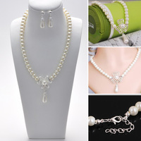 NEW 1 Row Elegant Pearl Imitated Necklace Earring Set White Hollow Flower Dangle Pendnat Jewellry Set