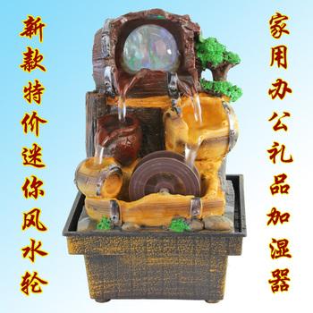 Free shipping Mini rockery  wheel water fountain humidifier fountain water Fountain home derocation